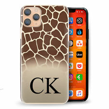 Personalised Initial Phone Case-Natural Brown Giraffe Print Hard Cover with Name