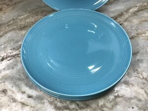 Williams Sonoma Vista Turquoise Dinner Plates.  Set Of 4. Colorful. New.