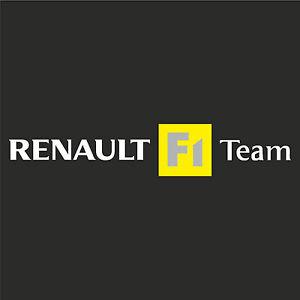 1 x Renault F1 Team Sticker Decal New Style - WHITE TEXT (Clio, megane, sport)