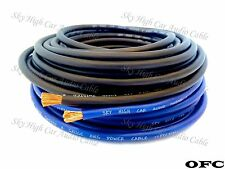 25 ft Total 8 Gauge OFC AWG 12.5' BLUE / 12.5' BLACK Power Ground Wire Sky High