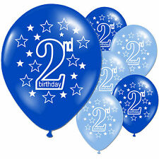 "10 Blue Boy's 2nd Birthday Party 11"" Pearlised Latex Printed Balloons"