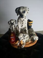 Oung Mom Dalmation and Babies Figurine with fireman hat and boots 5x5 inches