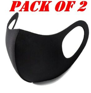 Pack 2 Face Mask Protective Covering Washable Reusable Black Adult Unisex UK