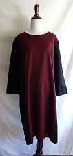Talbots Size 20 Burgundy Red & Black Ponte Knit Stretch Sheath Dress Colorblock