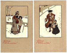 POSTCARDS (2) VIENNE CHRISTMAS GREETINGS SIGNED ETHEL PARKINSON