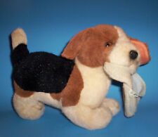 1985 NAUGHTY BEAGLE PUP WITH SLIPPER Stuffed Animal Plush - Applause