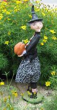 Tall WITCH STATUE Figurine*Pumpkin*Black Hat*Primitive Farmhouse Whimsy Decor