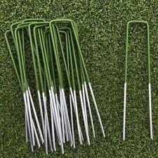 100 Half Green Artificial Grass Turf U Pins Metal Galvanised Pegs Staples Weed