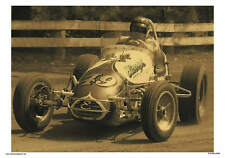 VINTAGE REPRODUCTION RACING POSTER BEAUTIFUL 49 VINTAGE SPRINT CAR AT SPEED