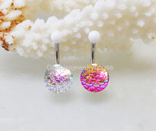 2pcs White & Pink Mermaid Scales belly button ring Navel Piercing Body Jewelry