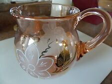 Vintage Pink Glass Etched White & Gold Flower Motif Pitcher