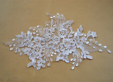 Ivory Bridal Lace Applique Embroidery Corded Lace Motif Wedding Lace Trim 1 Pair