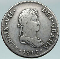 1815 JP PERU South America King FERDINAND VII Silver Peruvian 2 REAL Coin i87481