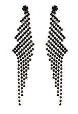 Orecchini a Clip-Argento Lampadario Orecchini con cristalli Nero-Candra B