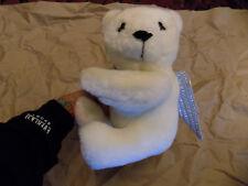 Vtg Teleflora Cupid White Teddy Bear Plush vase hugging w/ arrows & Quiver wings