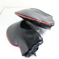 Faux Leather Black Waterproof Motorcycle MotorBike Handle Cover Muffs Gloves