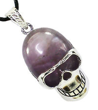 Amethyst Skull Head Pendant Necklace Natural Crystal Healing Stone