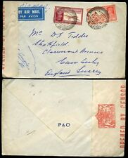 INDIA KG6 1939 CENSORED AIRMAIL P + O ENVELOPE