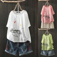 ZANZEA Women Short Sleeve Round Neck Shirt Tops Summer T-Shirt Blouse Tee Plus