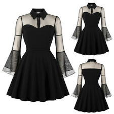Women Long Sleeve Queen Dress Vintage Punk Party Gothic Cocktail Swing Dresses