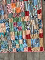"""Vintage Cotton Patchwork Quilt Worn Red Pink Yellow Floral Polka Dot 75"""" x 72"""""""
