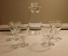 "Steuben Teardrop Carafe 10"" + 6 Steuben Air Twist Cordial/Cocktail Glasses"