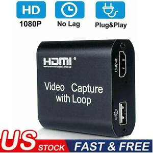 1080 USB HDMI Video Capture Card 1080P Game Record Live Streaming with Loop Out