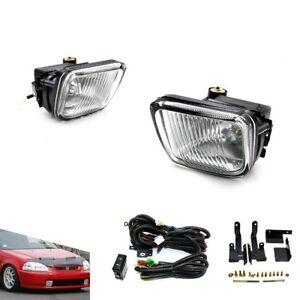 For 96-98 Honda Civic 2/3/4DR Clear Fog Lights Driving Lamps Kit With Switch