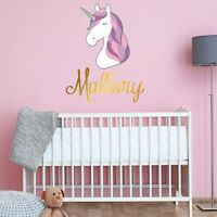 CUSTOM NAME VINYL DECAL WITH GIRLY UNICORN WALL STICKER