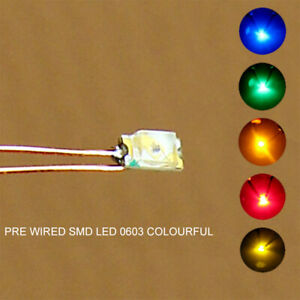 20pcs Pre-soldered micro 0.1mm Copper Wired SMD 0603 LED Light Different Colors
