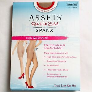 Assets Red Hot Label SPANX High Waist Sheers Barest Pantyhose Size 5 E