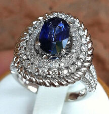 18K White Gold Coctail Ring with Genuine Sapphire &  Diamonds.size 7.