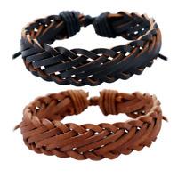 Adjustable Men Genuine Leather Bracelet Braided Wristband Charm Bangle Handmade