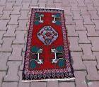 Anatolian Oriental Handmade Red Doormat Rug Oushak Vintage Ethnic Carpet 2x4 ft