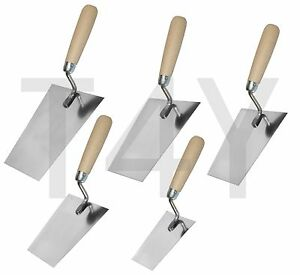 Stainless Bucket Trowel, Wooden Handle, Bricklaying Plastering Masonry DIY Tools