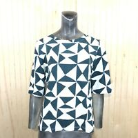 LOFT Ann Taylor Women Small White Green Triangle Geometric Print Blouse Top