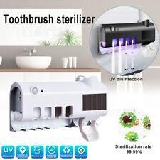 UV Light Toothpaste Dispenser Toothbrush Sterilizer Holder Wall Mount Automatic