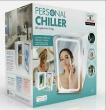 Personal Chiller LED Light Mini Fridge with Mirror Door Chills&Warms - Brand New