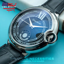 Mens Automatic Mechanical Watch Silver Chrome Black Dial Leather Strap