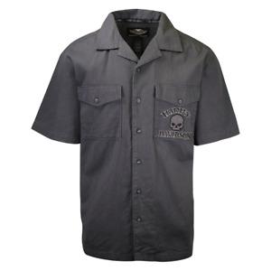 Harley-Davidson Men's Grey Skull S/S Woven Shirt