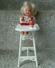 Vintage 1990s Barbie Shelly/Kelly Doll Eating Fun High Chair with Doll & Beaker*