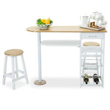 White Kitchen Island Cart Trolley  2 Bar Stools & Drawer Storage Dining Table