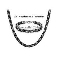 Men's Stainless Steel Mechanic Chunky Byzantine Chain Bracelet and Necklace Set