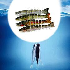 8 Segment Multi Jointed Hard Minnow Swimbait Crankbaits Fishing Lure Hook Baits