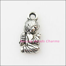 10Pcs Antiqued Silver Tone Praying Angel Wings Charms Pendants 8x16mm