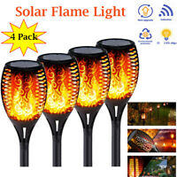 4x Outdoor 12LED Solar Torch Dance Flickering Flame Light Garden Waterproof Lamp