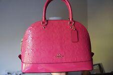 COACH SIERRA SATCHEL Signature Embossed Patent Dome Satchel in Dahlia Pink New