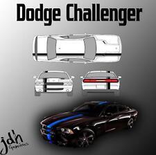 Dodge Challenger Single Offset Rally Racing Stripes Vinyl Decal Graphics Kit Car