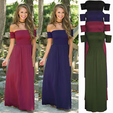 UK Womens Short Sleeve Off Shoulder Stretch Sheering Shirred Maxi Long Dress