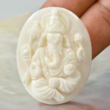 White BUFFALO BONE GANESHA Art-Carving PENDANT Sculpture Carved in Bali 12.86 g